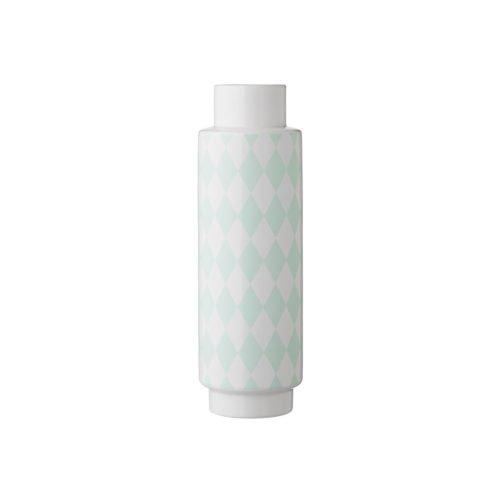Bloomingville Vase weiß mit mintfarbenen Rauten