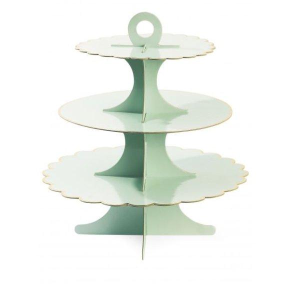 kuchen cupcake tagere mintgr n mit goldrand von miss toile geschenketraeume. Black Bedroom Furniture Sets. Home Design Ideas