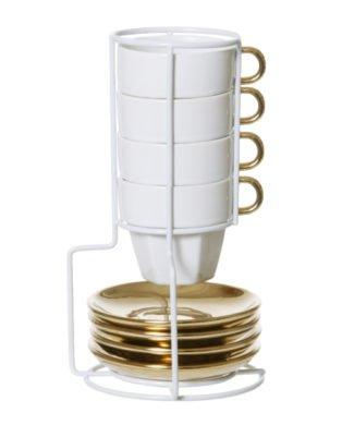 Espressotassen Set Fortune weiss gold von Present Time