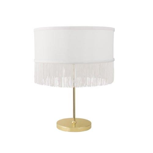 Weiße Lampe mit Fransen und Goldfuss von Bloomingville