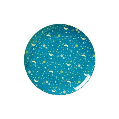 Melaminteller Universe Print blau von Rice