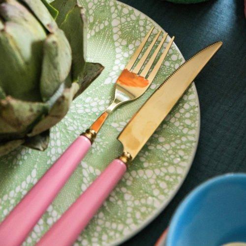 Rice Besteck pink und gold