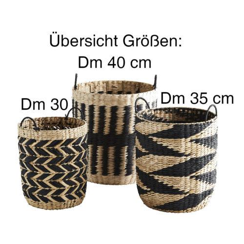 Madam-Stolz-Korb-Grasgeflecht-Übersicht-Größen